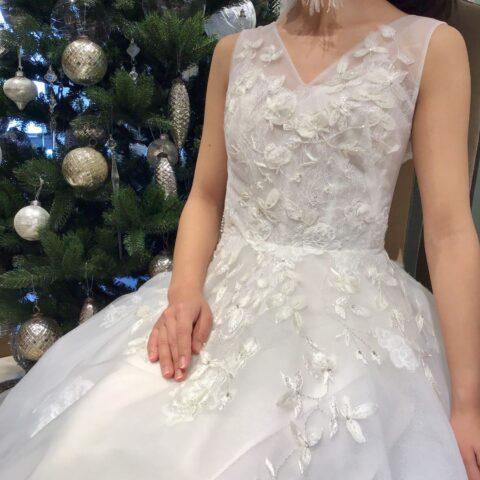 モニーク・ルイリエのVネックドレスとフェザーのイヤリング