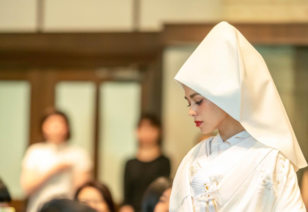 トリート京都店の洋髪に綿帽子を使用した和婚白無垢のコーディネート