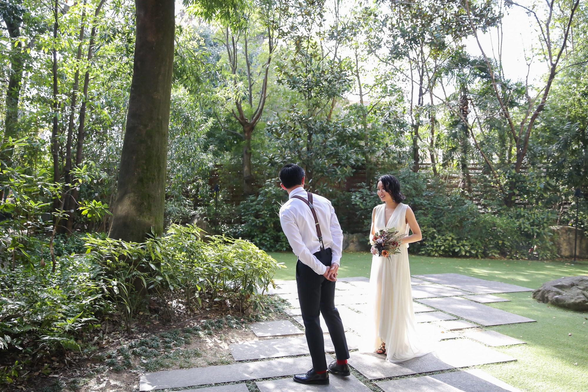 トレンドのウエディングドレス2着をTHE NANZAN HOUSE (ザ ナンザン ハウス)でお召になられた花嫁様