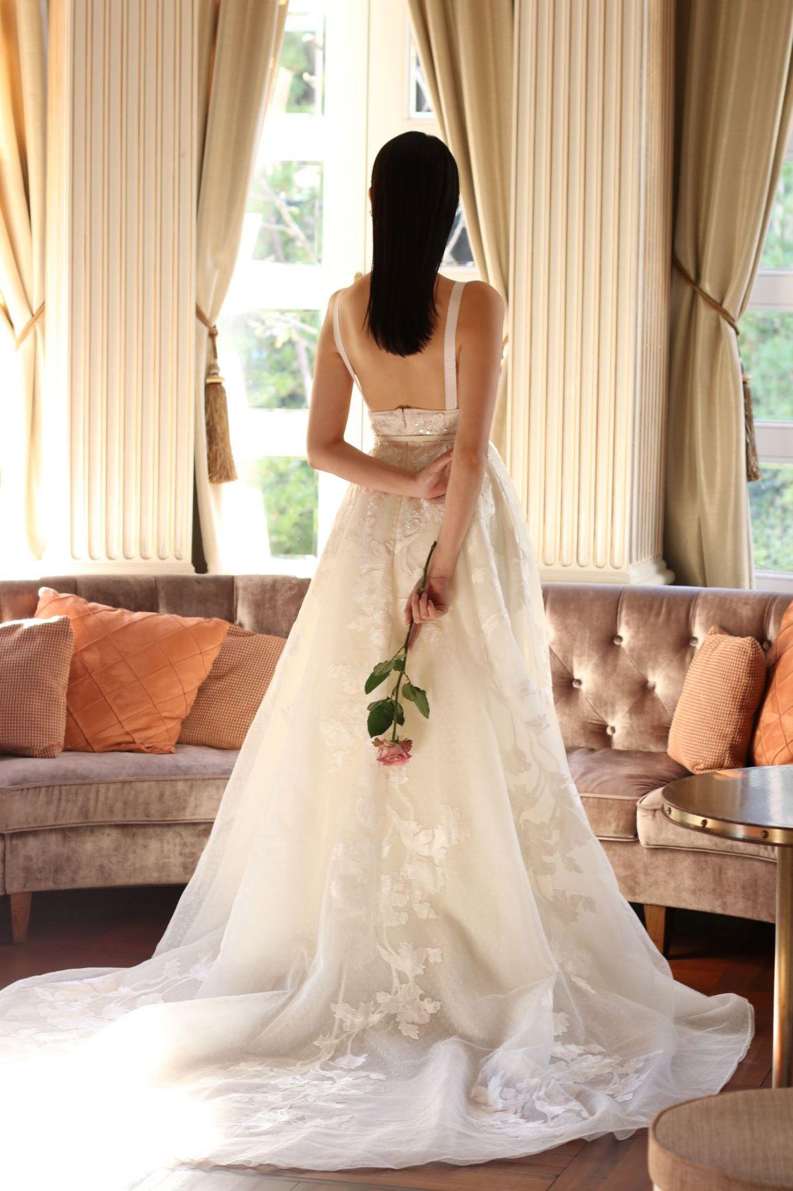 バックスタイルの綺麗なトレーンの長いエリーサーブのドレス