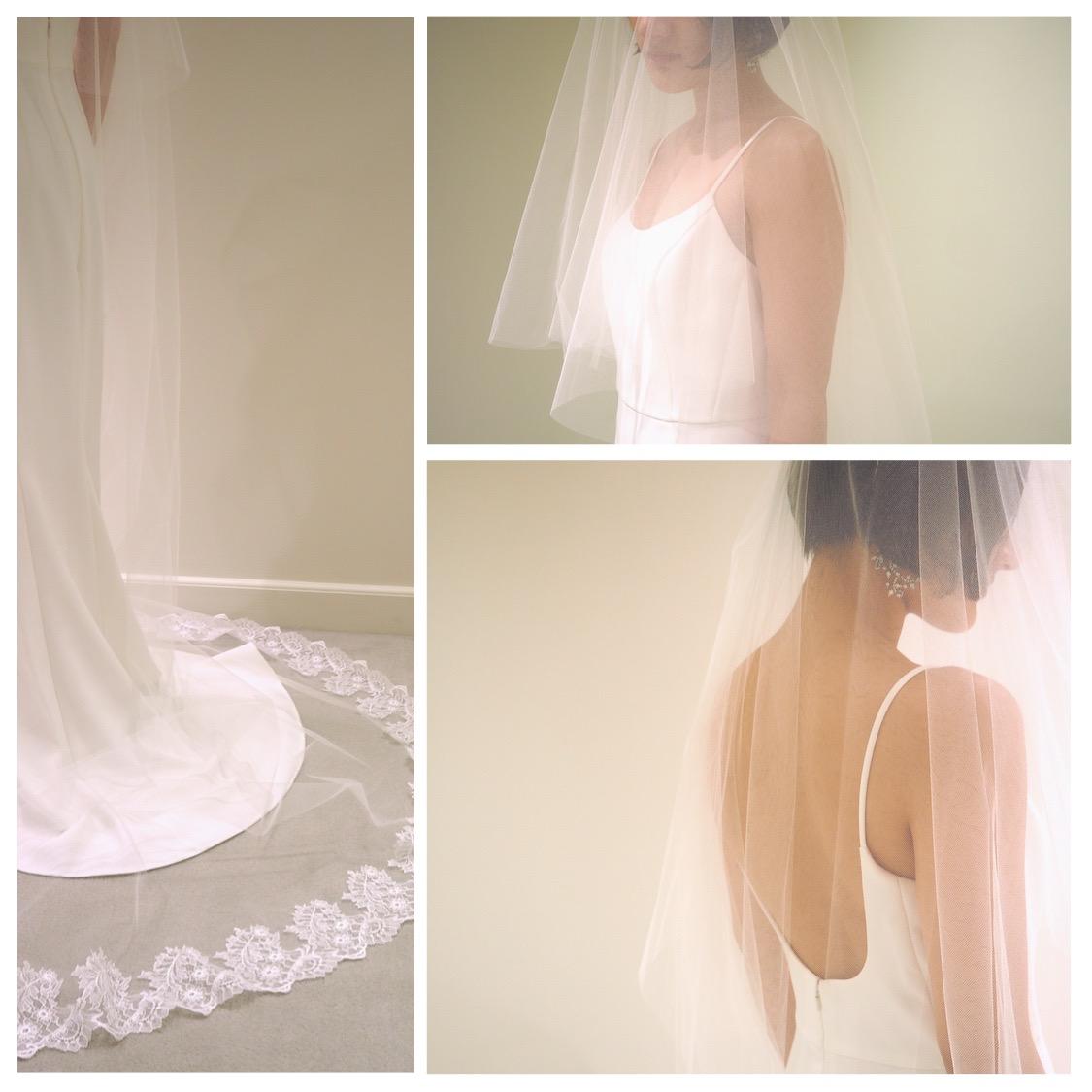 東京のドレスショップのザ・トリートドレッシングが提案するレースのロングベールとアムサーラの新作スレンダードレス