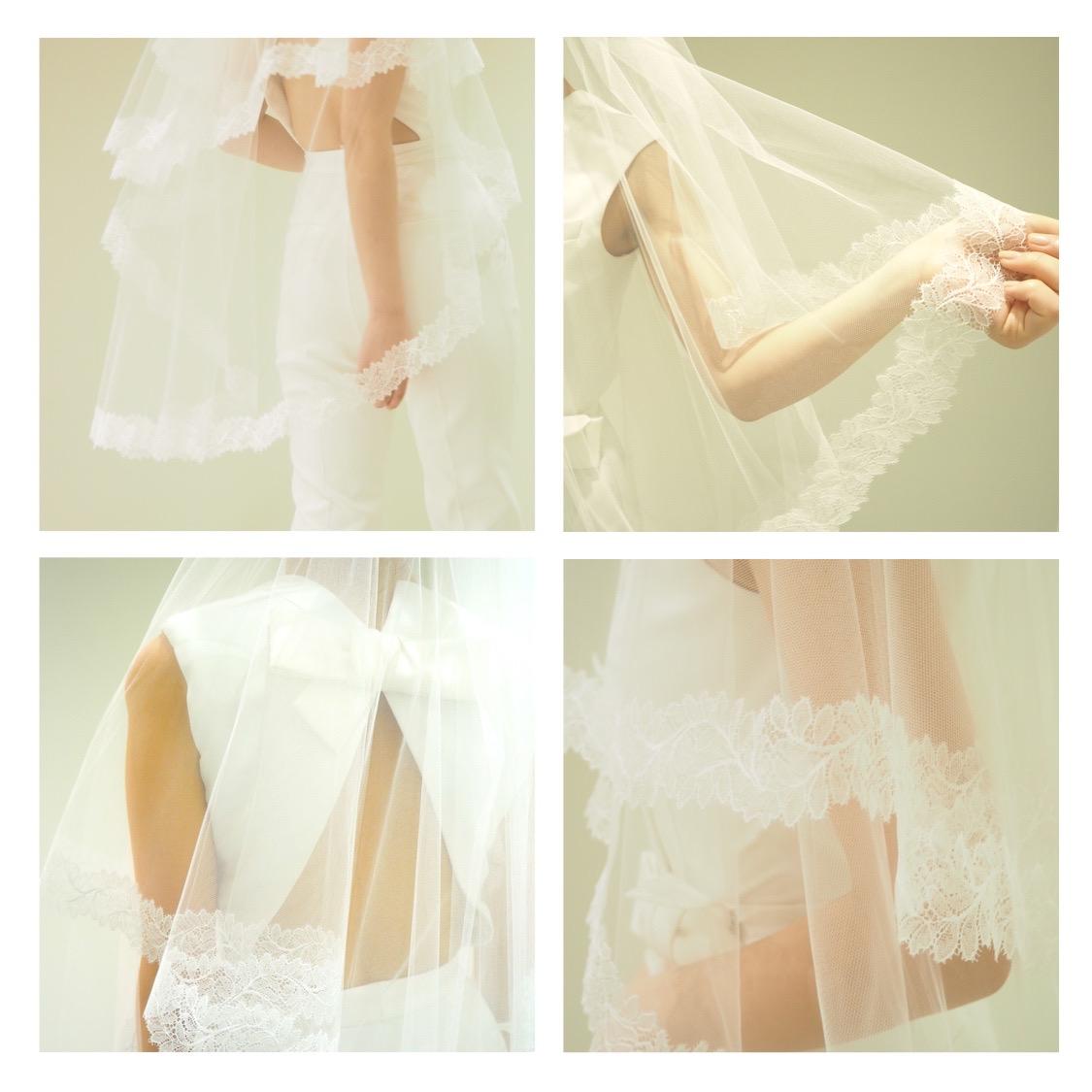 パンツスタイルのドレスに合わせる美しいレースのショートベールは、沢山のコーディネートが出来る遊び心のあるアイテムです