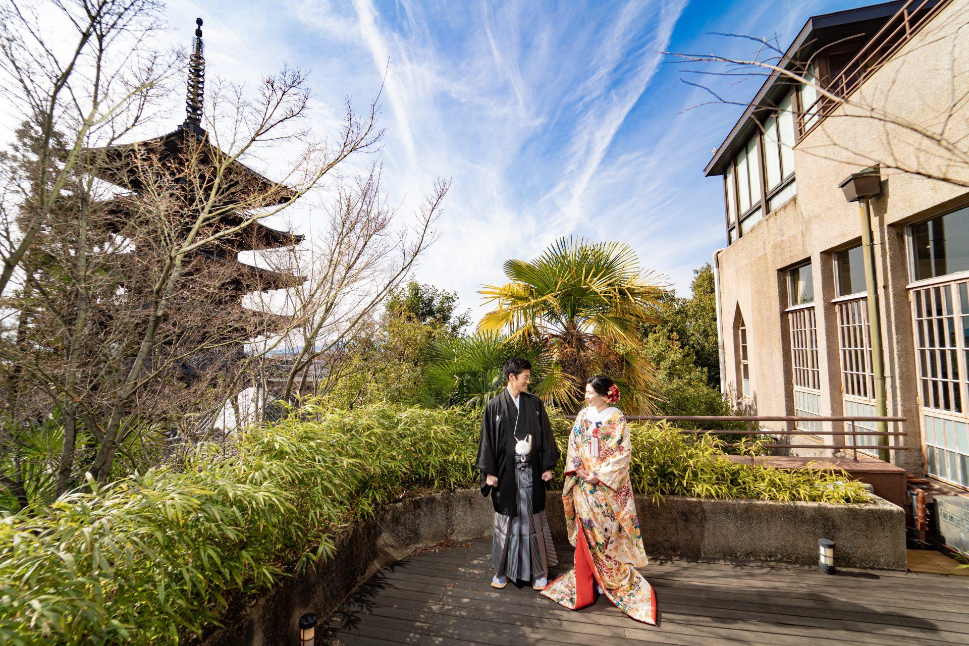 八坂の塔が目の前に見えるザソウドウ東山京都での前撮り