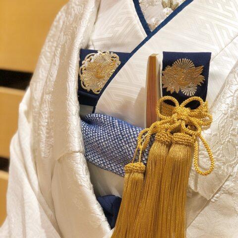 ザトリートドレッシング京都店にてお取り扱いをしている白無垢に合わせた紺色の白無垢のコーディネート