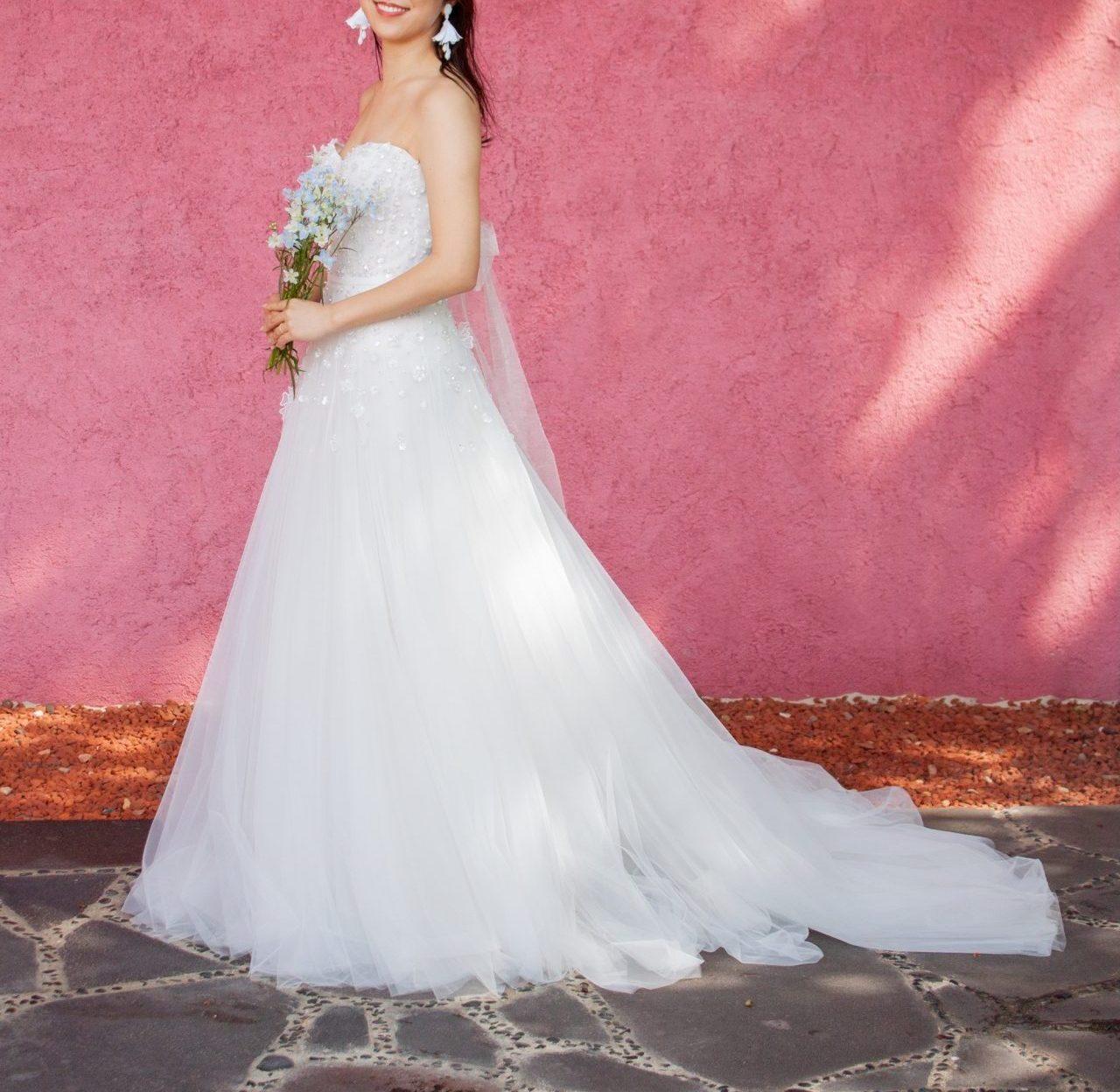 ザ・トリートドレッシング福岡店でお召し頂ける、人気のミラ・ズウィリンガーのチュールのレンタルウエディングドレス