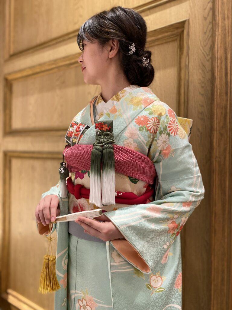 和装コーディネートのご紹介~水色の本振袖~
