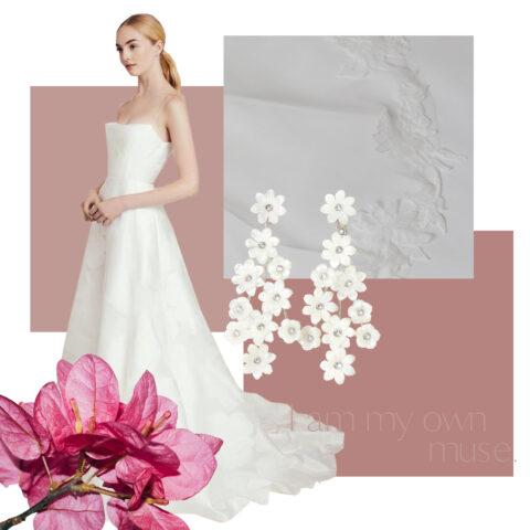 ニューヨークのインポートドレスブランドのレラローズから届いた新作ウエディングドレスとトリートドレッシングオリジナルベールのコーディネート提案