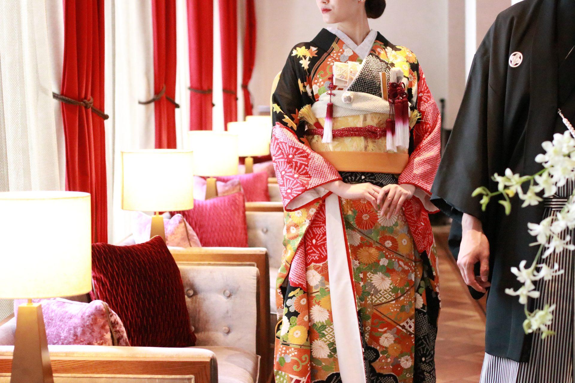 ザ・トリート・ドレッシング アディション店では、赤坂プリンスクラシックハウスの専属ショップとして、洋館のゲストハウスにも相性の良いモダンで洗練されたお和装もお取り扱いをしております