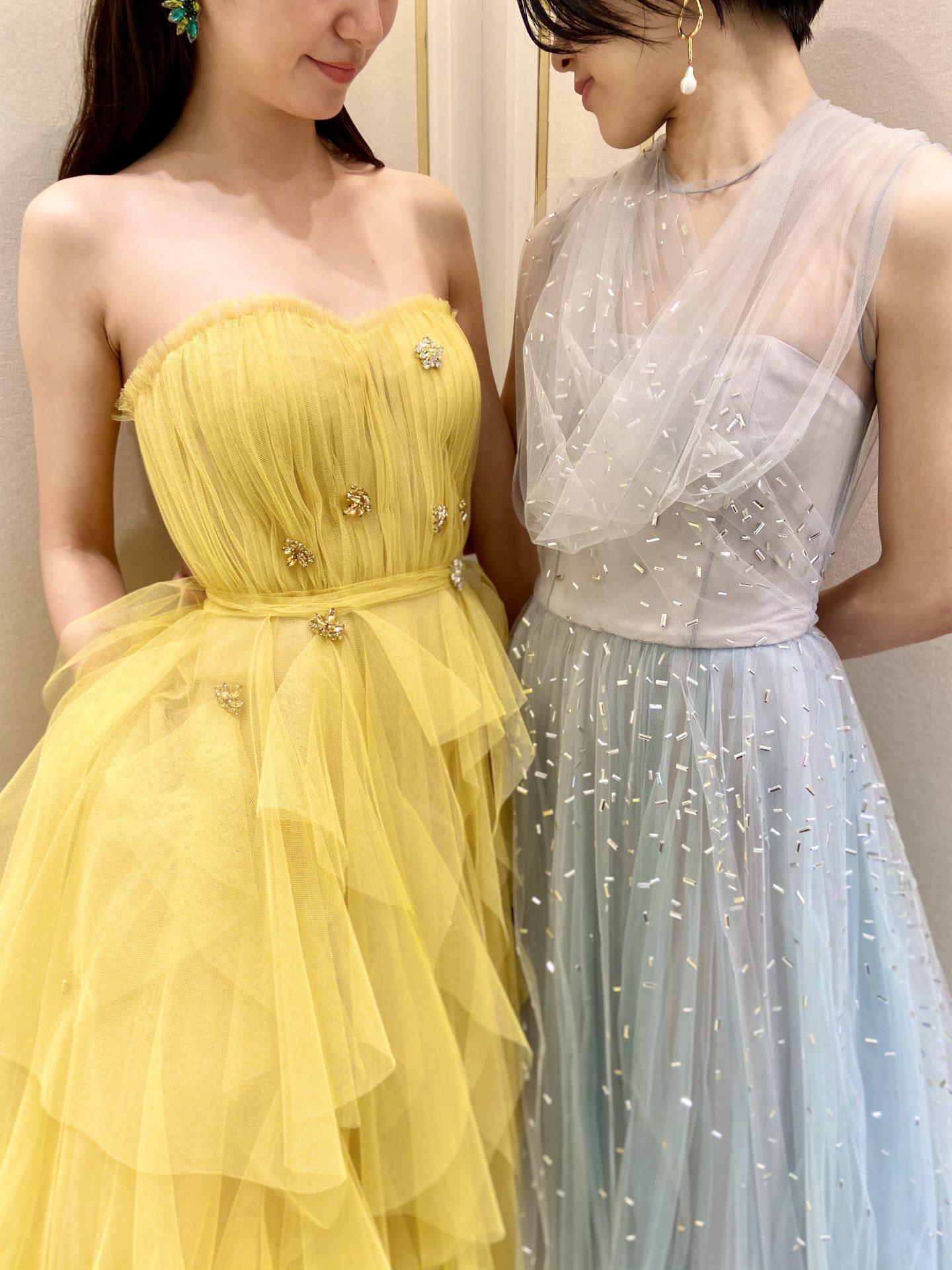 ザ・トリート・ドレッシング大阪店に入荷した新作の色鮮やかなチュールのカラードレス