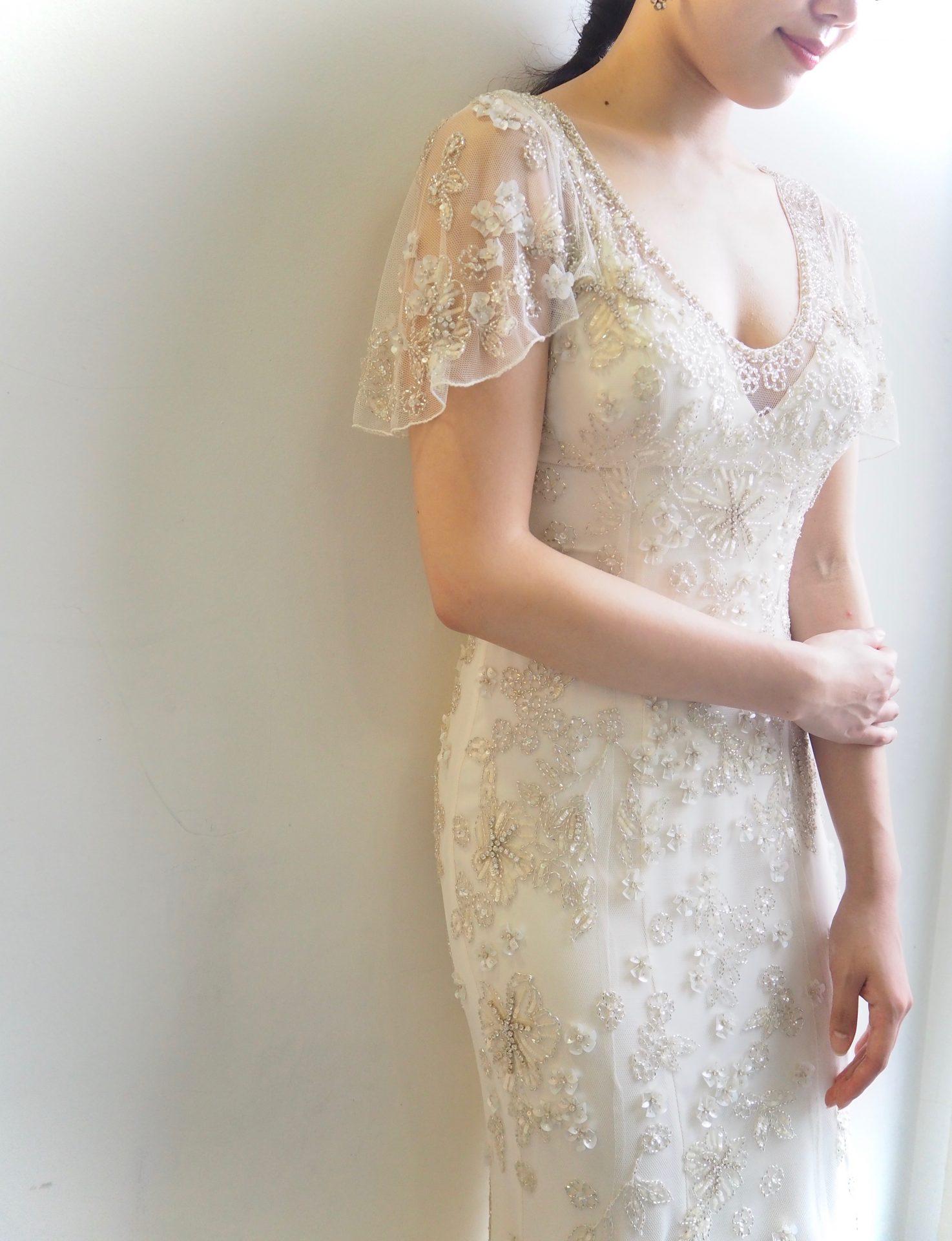 フォーチュンガーデン京都にてご結婚式をされるプレ花嫁様にオススメしたい透明感をより一層引き立てるジェニーパッカムのレンタルウェディングドレス