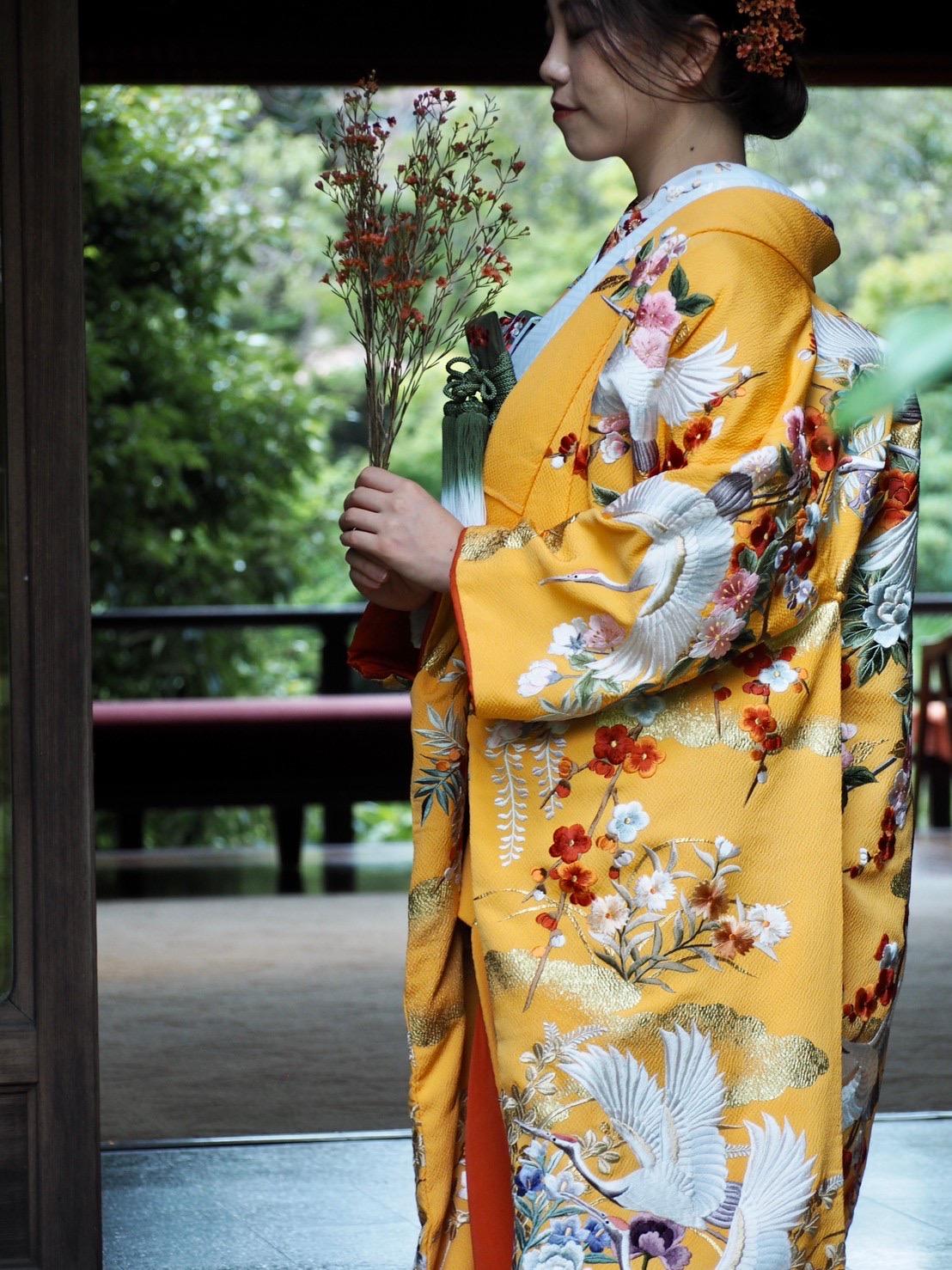 ザ・トリートドレッシング神戸店が提携している蘇州園に映える黄色の色打掛のご紹介