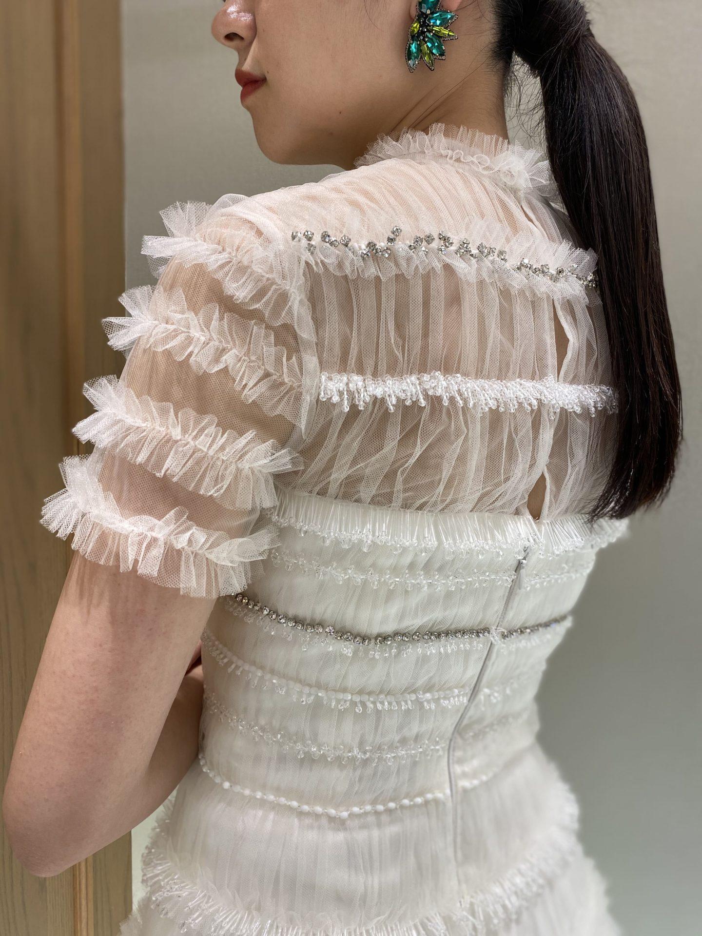 ザ・トリートドレッシング名古屋店で人気のミカドシルクやビジューやチュールが美しいヴィクターアンドロルフマリアージュのウエディングドレス
