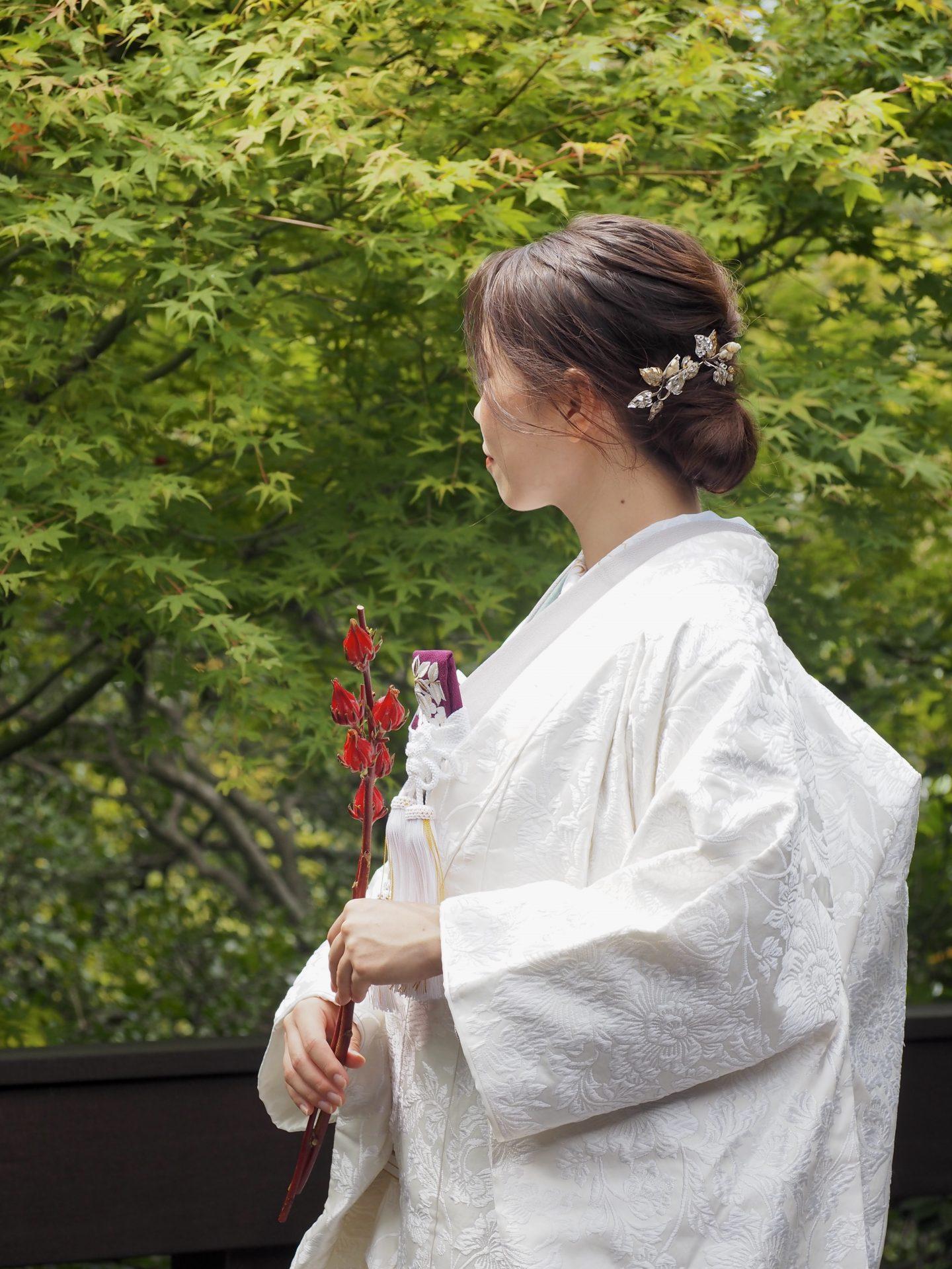 ザ・トリートドレッシング神戸店が提携している蘇州園に映える白無垢のコーデイネートのご紹介