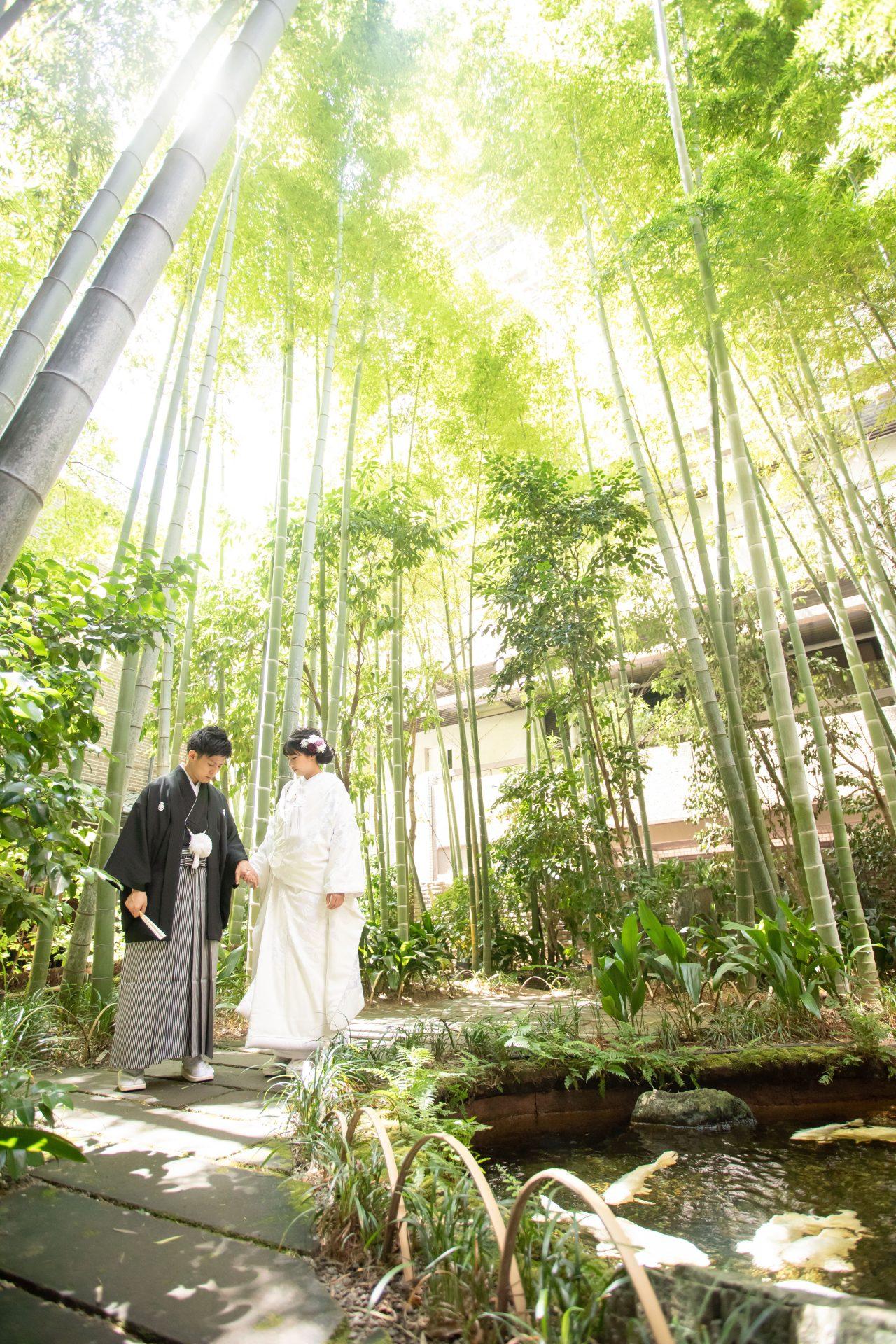 京都で前撮りを検討される新郎新婦様に提案したい竹林のお庭での和装前撮り
