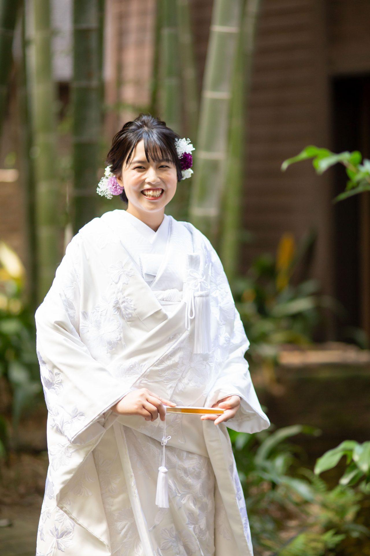 FGK花嫁におすすめしたい竹林のお庭での和装の京都前撮り