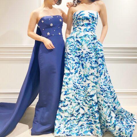 鮮やかなブルーのカラードレスはお洒落でモダンな印象を与えファッションを愛するプレ花嫁様におすすめしたい人と被らないお色直し衣装