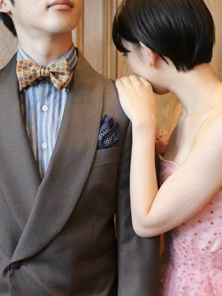 ナチュラルでアットホームなウェディングがイメージのご新郎ご新婦様にザトリートドレッシング名古屋店でおすすめのご新郎様のお色直しスタイル