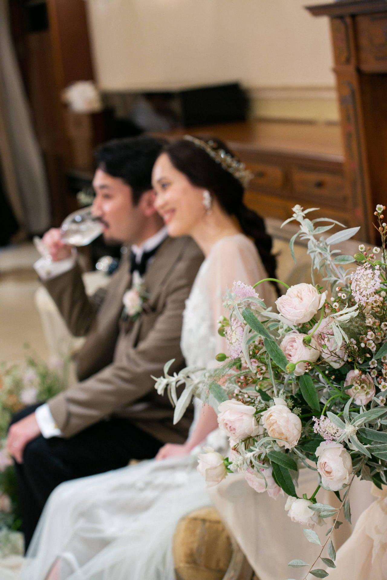 アンティークでクラシックな雰囲気のレストラン、リストランテASOで行った冬の結婚式の様子。