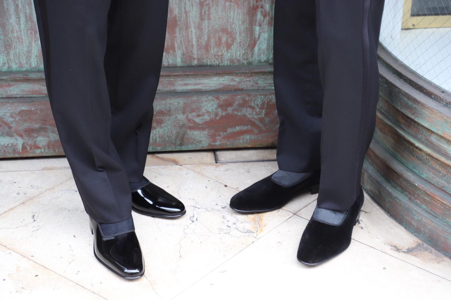 ザトリートドレッシング京都店がご紹介するご新郎様におすすめのイタリアブランド il micio (イルミーチョ)のパンプスシューズをタキシードに合わせたドレッシーなスタイル