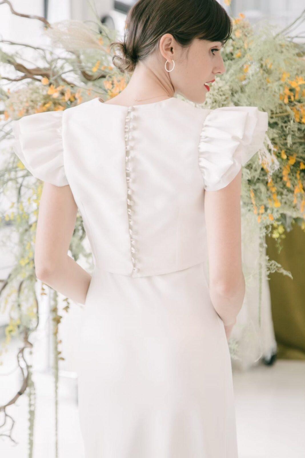 イギリスブランド、ハーフペニーロンドンのスリーブ付きスレンダードレス