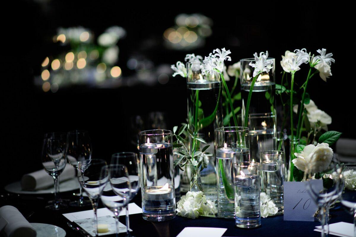 トリートアディション店の提携会場パレスホテル東京でこだわりの披露宴をされた花嫁様のテーブルコーディネート。