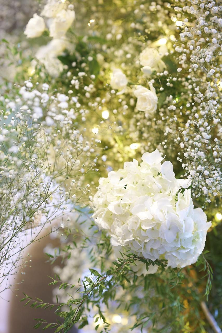 モニーク・ルイリエのプリンセスラインのウェディングドレスに合わせたかすみ草と白の紫陽花をテーマとした会場の装花
