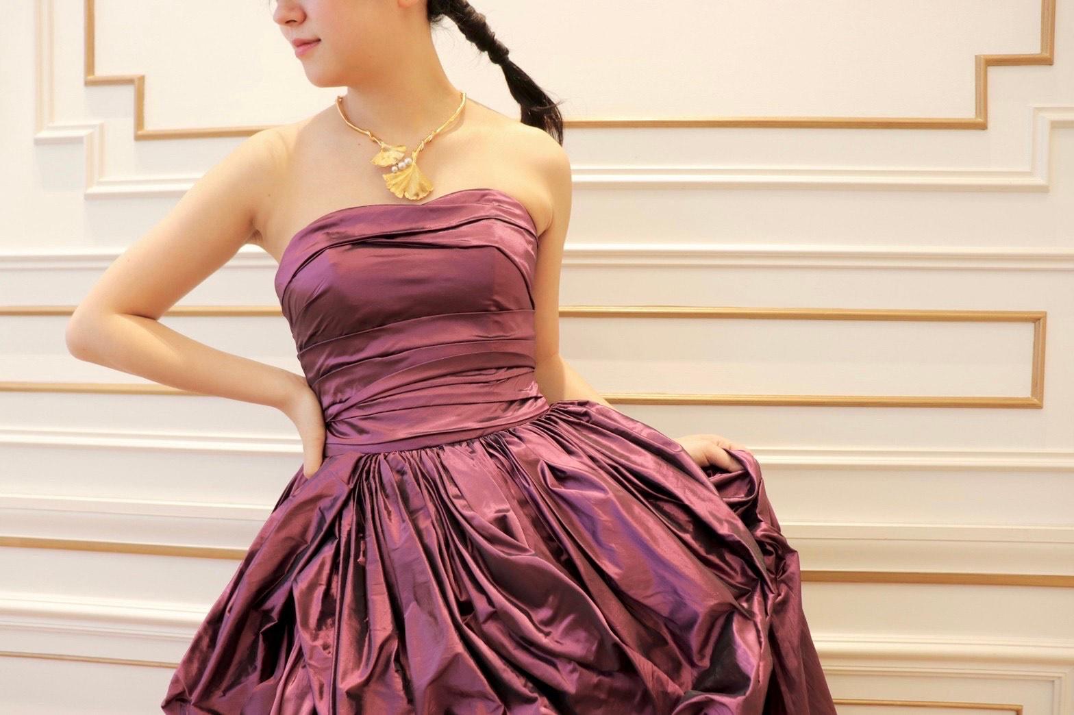 THE TREAT DRESSING名古屋店でお取り扱いしているお色直しにおすすめのパープルのカラードレス