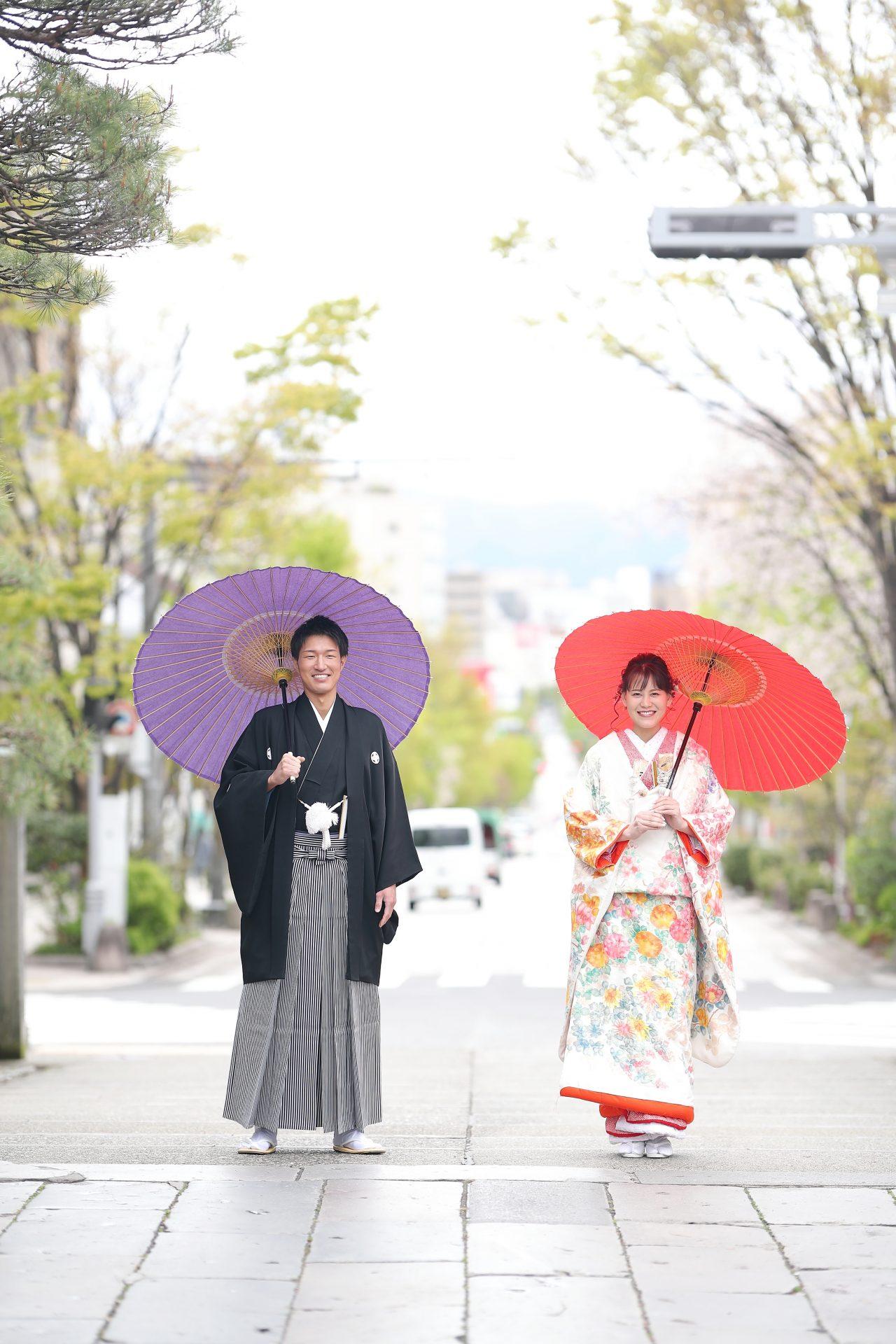 長野ならではの落ち着いた雰囲気と和装がマッチする前撮り写真