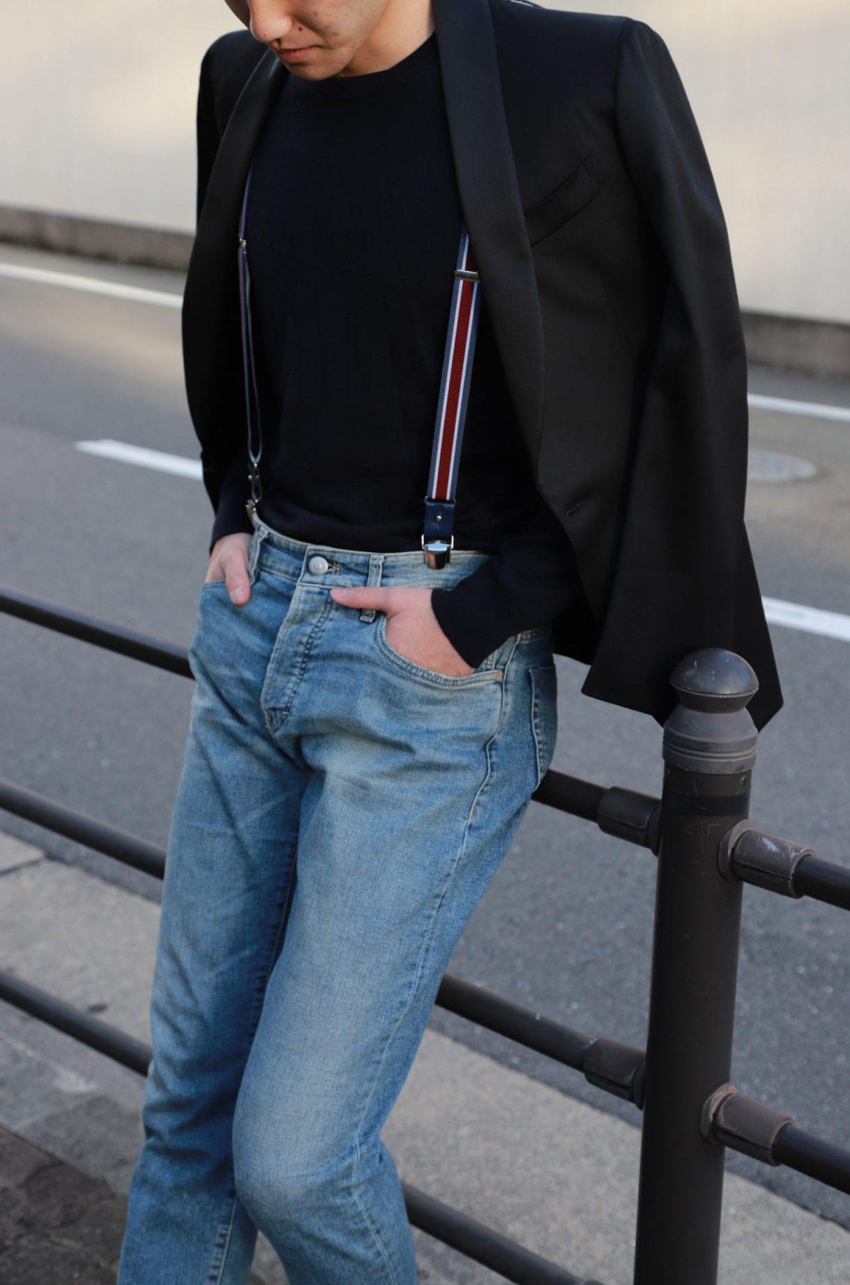 ザトリートドレッシング大阪店がご紹介するご新郎様におすすめのオーダータキシードとデニムを使用したカジュアルコーディネート