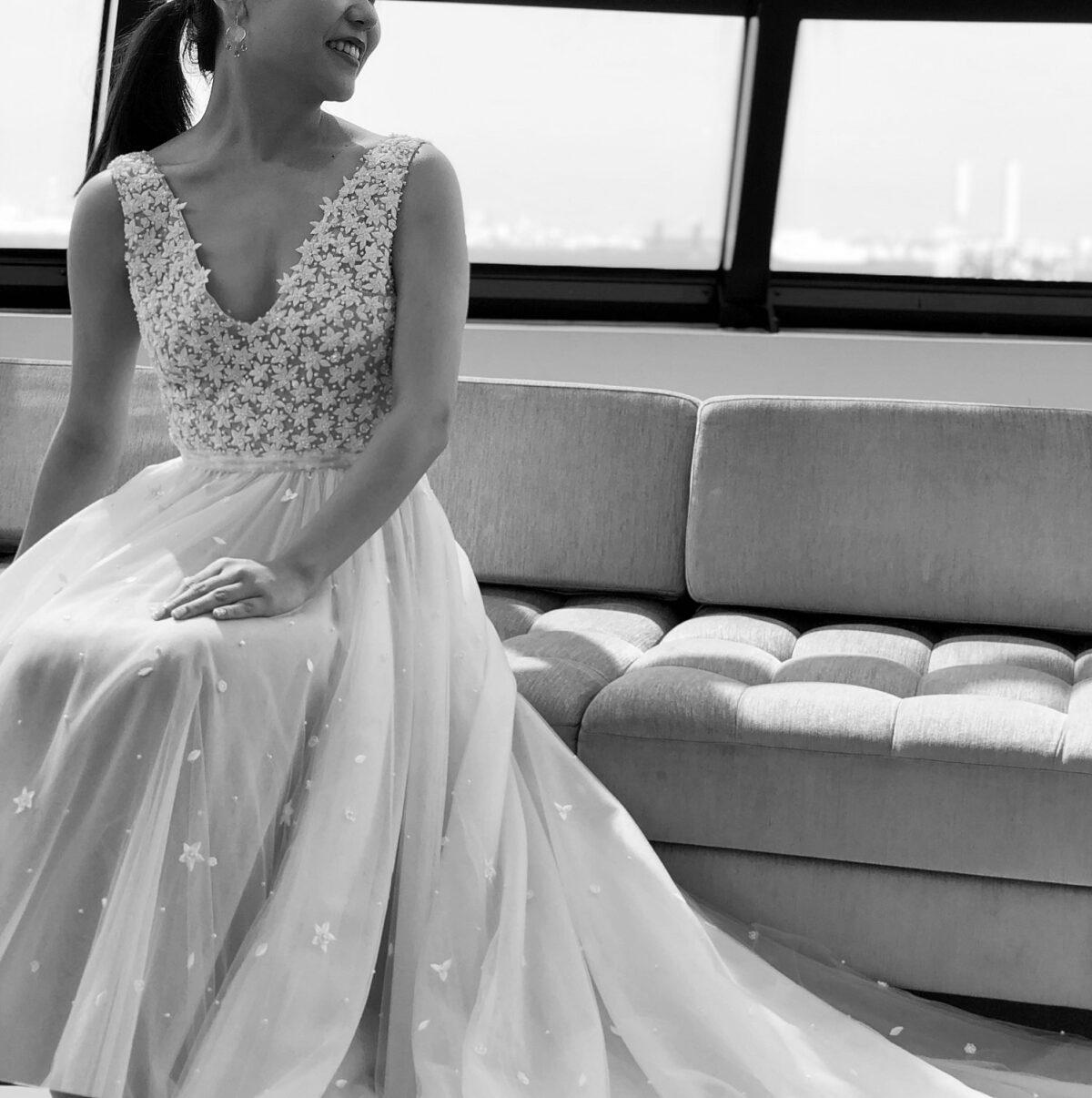 ビジューが美しいリームアクラのレンタルウエディングドレスは横浜みなとみらいでの挙式におすすめ